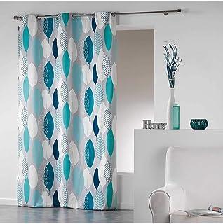 Coton d'intérieur 1606475 LEAFY Rideau à œillets Coton Bleu 140 x 240 cm