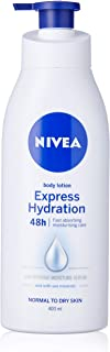 NIVEA Express Hydration Body Lotion & Moisturiser. Fast Absorbing with Intensive Moisture Serum & Sea Minerals for Normal to Dry Skin 400ml