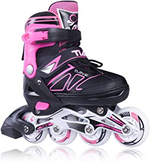 Zuwaos Boys Girls Adjustable Inline Skates for Kids and Adults with Light up Wheels Size (S-XL)