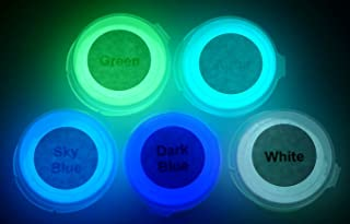 Neutral 5 Color Pack Glow in The Dark Pigment Powder - 12g Each, 60g Total