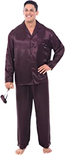 Alexander Del Rossa Men's Button Down Satin Pajama Set with Sleep Mask, Long Silky Pjs