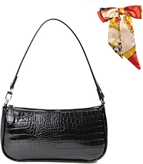 Retro Umhängetasche Bag,90s Umhängetasche Damen mit schickem Krokoprägung-Druck Crossbody Tasche,Damen Schultertasche,Frau...