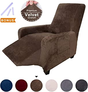ACOMOPACK Recliner Premium Velvet Stretch Recliner Slipcovers, Coffee Recliner Cover Couch SlipCovers for Furniture Living Room Cover for Dogs and Cats Protector with Plastic Tuckers and Side Pocket
