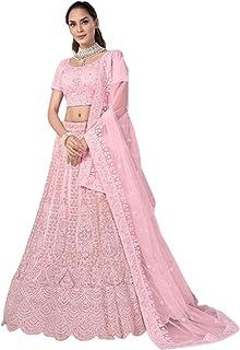 Pink Indian New Arrival Net Dori & Zarkan Diamond Bridal Reception Lehenga Chaniya Choli Dupatta 6228
