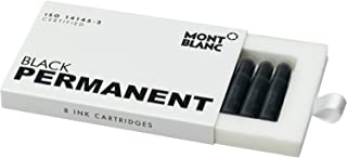 Montblanc Ink Cartridges Permanent Black 107757 – Document-Proof Fountain Pen Refills in Black – 8 International Standard Pen Cartridges