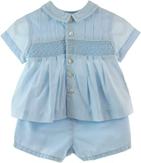 Newborn Boys Blue Take Home Outfit Smocked Diaper Set | Sarah Louise Layette