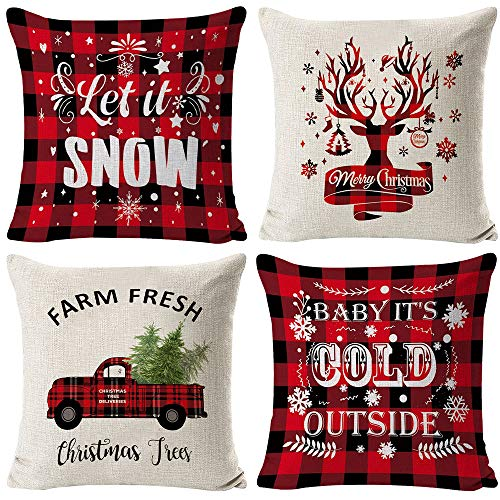 "HAJACK Christmas Pillow Covers, 18x18"" Throw Pillow Cases Set of 4 for Christmas Decor, Red Plaid Truck & Farmhouse & Deer Pattern and Soft Linen Fabric, Great Decorations and Best Gift for Christmas"