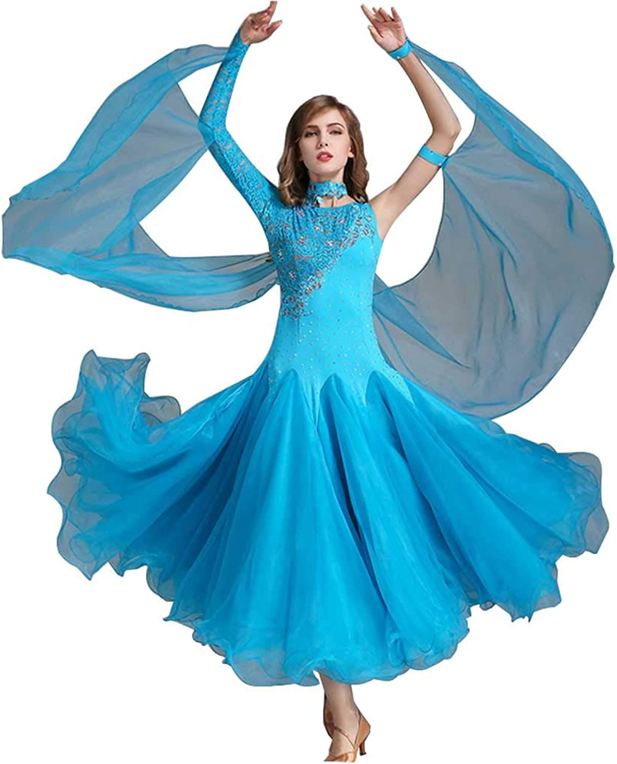 Dance Dress Lake bluee Modern Dance Skirt Spring and Summer Lace Big Swing Skirt