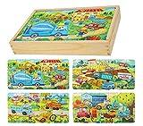 Herefun Puzzles de Madera Juguetes Educativos, Juguete de Madera Puzzle para Niños Puzzles Infantiles, Rompecabezas de Madera Set Paquete de 4 Regalos de Cumpleaños para niños (Ingenieria)