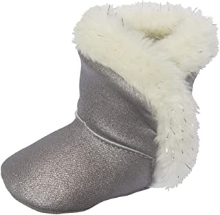 Little Me Kids' Silver Metallic Baby Girl Boot with White Lurex Faux Fur