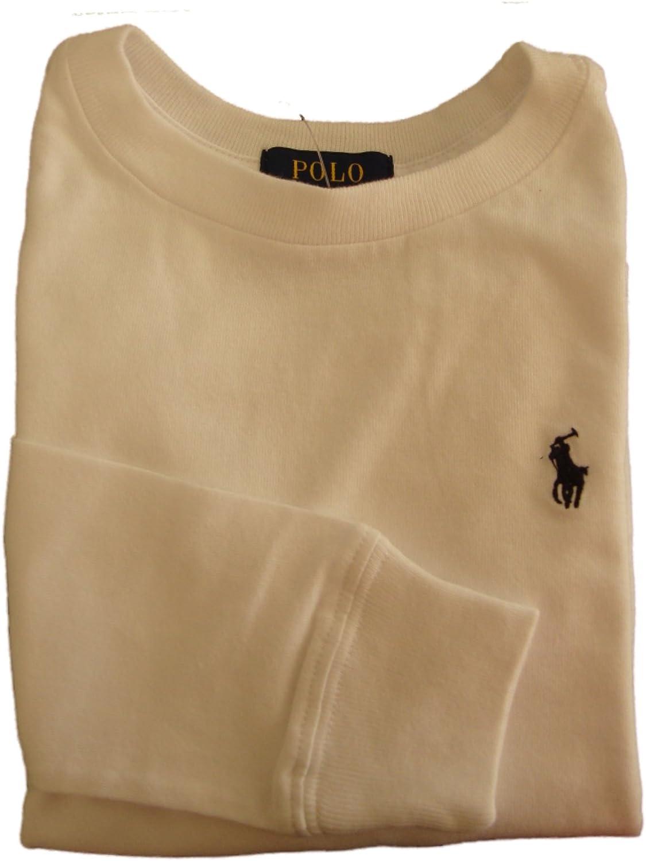 Polo Ralph Lauren Boys Cotton Long Sleeve Crew Tee (L(14-16), White)