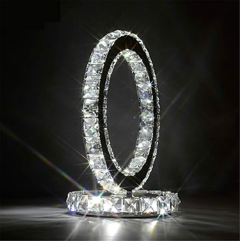 BOJOK Schlafzimmer Moderne Kristall Led Tischlampen Schlafzimmer Leuchtet Led Energiesparlampen Nachttischlampe Leselampe Exquisite Tischlampe Geschenk (Wei)