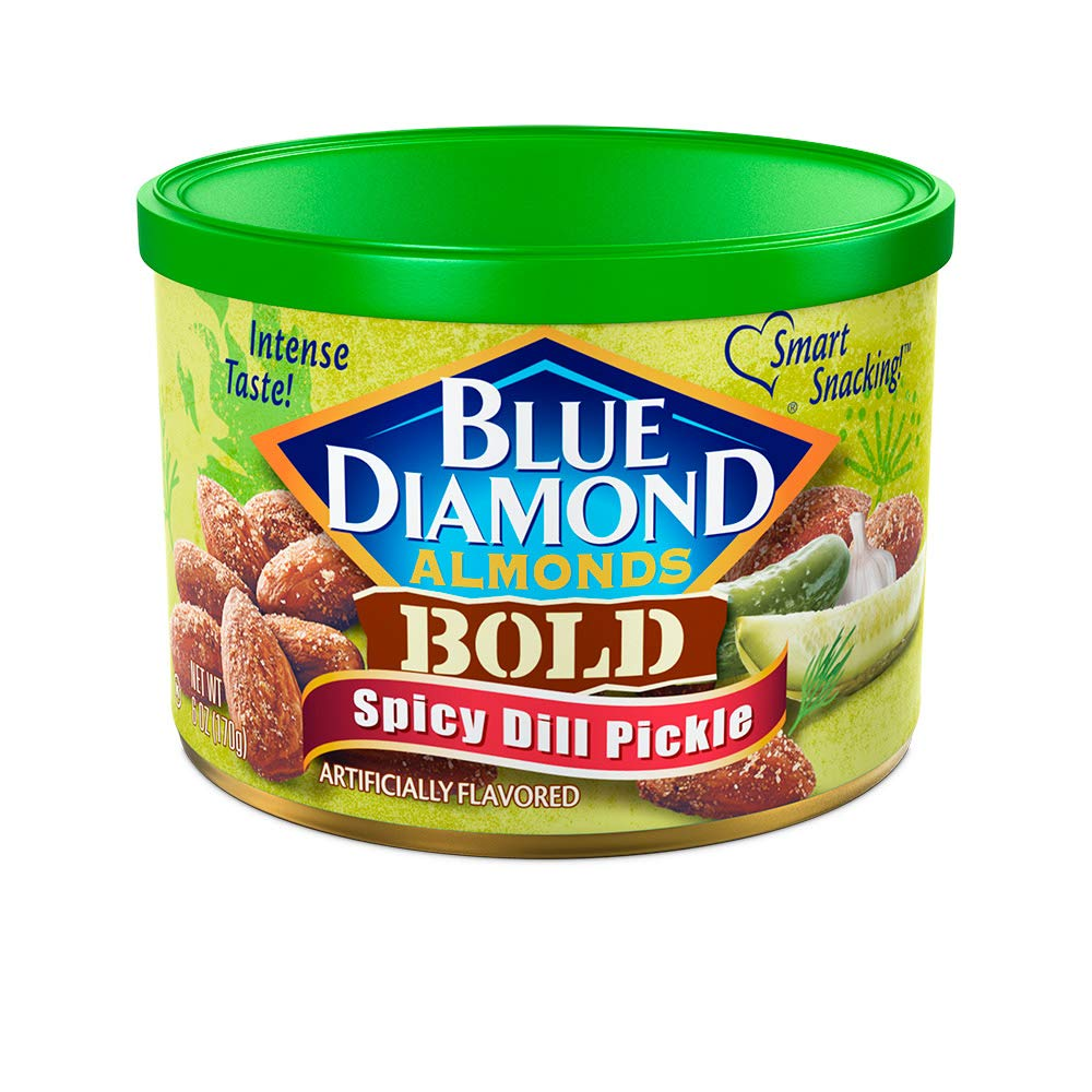 Blue Diamond Almonds Spicy Dill Pickle Flavored Snack Nuts, 6 Oz Resealable Can (Pack of 1)