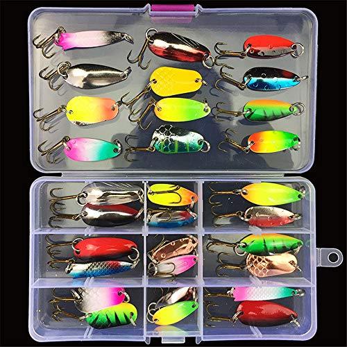 LEAMALLS 31 Pezzi Pesca Richiamo Artificiali Kit di Esche da Pesca Ganci Cucchiaini, Sport e tempo libero Pesce Tackle attrezzature
