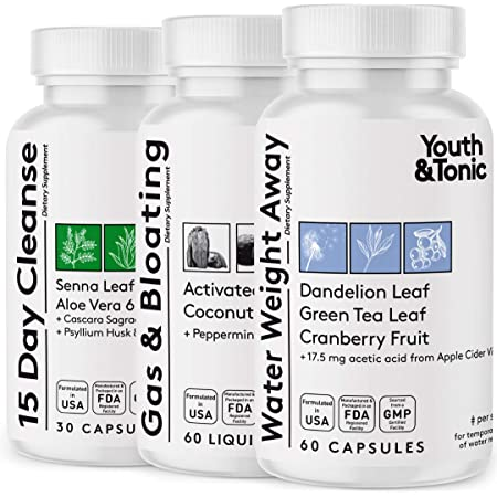 3pk Water Weight & Waste Loss & Belly Bloat to Reduce Fast Waist Line & Gas Bloating   Body Cleanser Combo for Weight Control   Colon Cleanse Leg & Ankle Swelling Relief Charcoal Detox for Men & Women