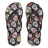 Sugar Skull Skeleton Flowers Folk-Custom Flip Flops for Women Men's Sandals Home Slippers Hotel Spa Bedroom Travel Beach M 2045014