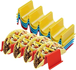 Taco Holder Stand Set of 6 - Taco Truck Tray Style Rack, Holds Up to 4 Tacos Each, ABS Health Material Very Hard and Sturd...