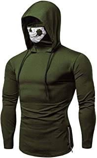 SSYUNO Big Sale Personalized Mens Mask Skull Pure Color Splicing Pullover Long Sleeve Hooded Sweatshirt Tops Blouse