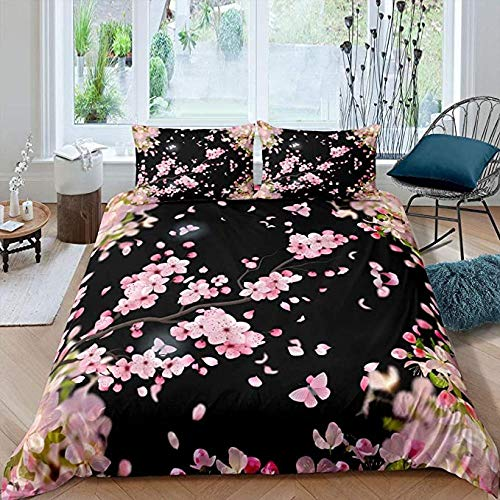 HUA JIE Bedding Comforter Sets Full Girls Cherry Blossoms Bedding Set Twin, Nature Plant Themed Duvet Cover Vintage Japanese Cultural Comforter for Woman, Fashion Flower Branch Quilt Set