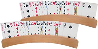 Dreamseeker 2 Boxes of Panoramic Wooden Playing Card Holders for Kids Seniors Adults with Widen Base Stable Enough for for...