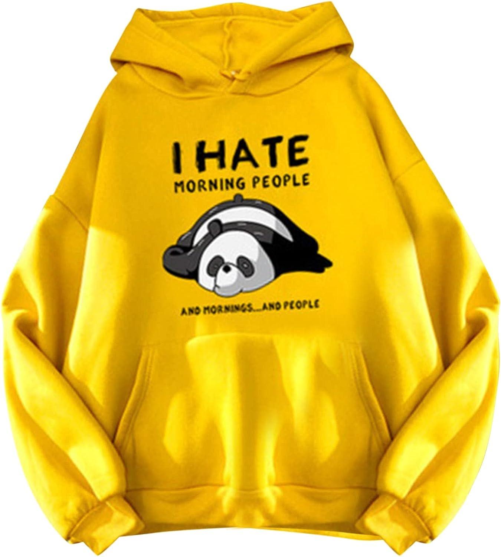 Womens Casual Long Sleeve Drawstring Hoodie Panda Graphic Pocketed Sweatshirt, Pullover Sweatshirts for Women Graphic