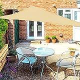 OKAWADACH Toldo Vela de Sombra Triangular 3 x 3 x 3m, Vela de Sombra Protección UV para Patio, Exteriores, Jardín, Color Beige