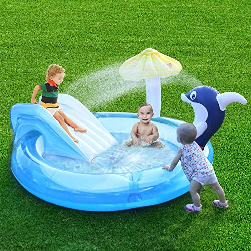 Xuanshengjia Piscina Inflable para Niños, Piscina Inflable con Aspersor De Agua para Delfines Piscina para Niños con Tobogán para Niños, Piscina Infantil De Juguete Interactivo Familiar