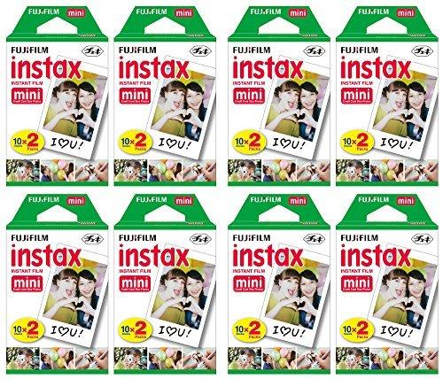 Fujifilm Instax Mini filme instantâneo (8 pacotes duplos, 160 fotos no total) para câmeras instantâneas