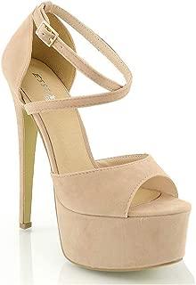 Womens Strappy Platform Sandals Peep Toe Ladies Stiletto High Heel Shoes