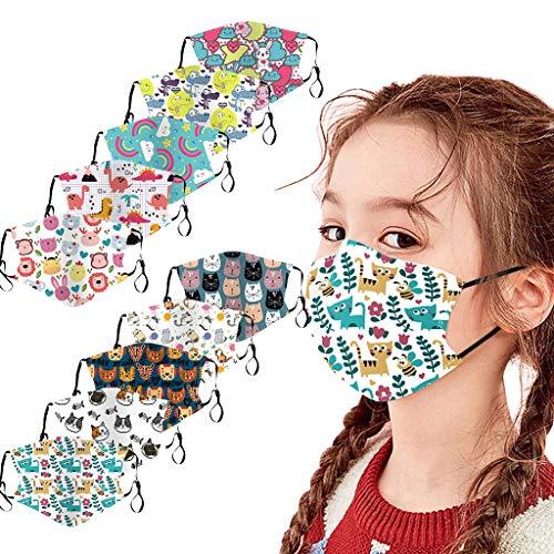 Lulupi 10 Stück Kinder Mundschutz Multifunktionstuch 3D Cartoon Druck Maske Animal Print Atmungsaktive Baumwolle Stoffmaske Waschbar Mund-Nasenschutz Tiermotiv Bandana Halstuch Jungen Mädchen