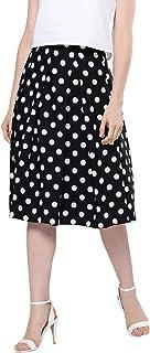 BESIVA Women's Polka Print Skirt with Pleat Detail at Waistline