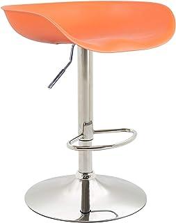 Colore:Arancione Colore della Cornice:Cromo CLP Sgabello Bar Design Anaheim in Plastica con Piedistallo I Sedia Alta Cucina Girevole E Regolabile 57-67 CM