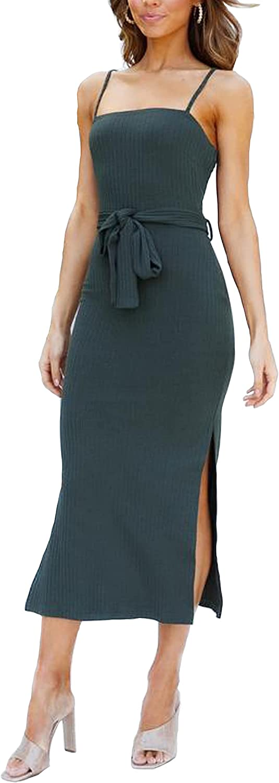 HMPRT Women's Bodycon Rib Knit Midi Backless Spaghetti Strap Sleeveless Split Cocktail Party Club Dress