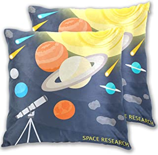 COOSUN Space Objects and Telescope Square Decorative Throw Pillows Cushion Covers Cases Pillowcases for Sofa Bedroom Car C...