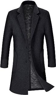 ZHPUAT Men's Wool Overcoat Long Pea Coat Winter Trench Coat Slim-Fit Business Top Coat