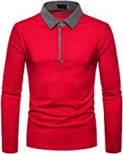 Men's Tops Patchwork Button Slim Fit Shirt Turn-Down Collar Long Sleeve Blouse