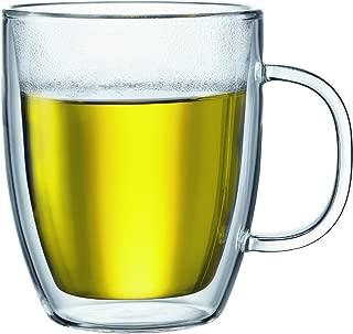 Bodum Bistro Double-Walled Transparent 15 Ounce Jumbo Coffee Mug, Set of 4