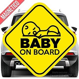 Cartel magnético seguridad para coche BABY ON BOARD 12X12CM amarillo y negro