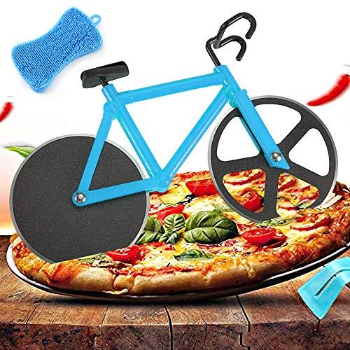 Fahrrad Pizzaschneider, Edelstahl Doppel Pizza Schneider Geeignet für Haus und Küche Kommt mit einer Silikonreinigungsbürste (Blau)