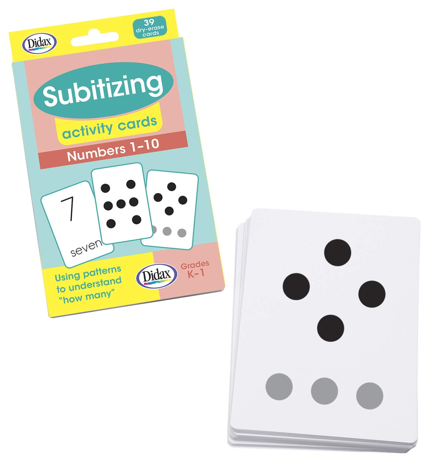 Didax 211015 Subitizing Dry-Erase Activity Cards, Numbers 1 to 10, Set of 39,White