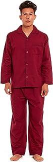 Mens Traditional Pyjamas 2 Piece Set Classic Style Plain Poly Cotton Pjs Nightwear Lounge Wear Sleepwear Suits Button Up L...
