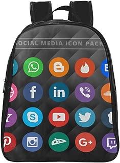 LaLa Rose Social Media Icon Pack Design School Backpack Children Shoulder Bag Sport Bag (Black Colour)
