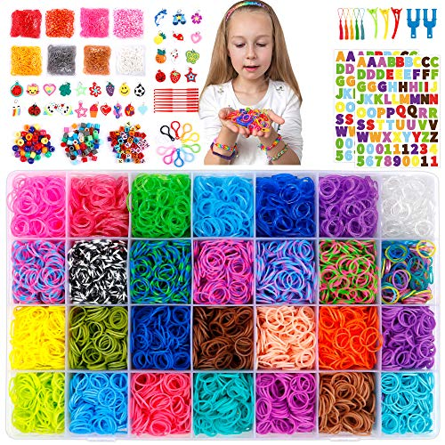 18,980+ Rubber Bands Refill Loom Kit, 37 Colors Loom Bands,1000 S-Clips, 280 Beads, 52 ABC Beads, Tassels, 10 Backpack Hooks, Crochet Hooks and ABC Stickers