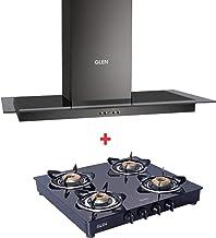 Glen Black Kitchen Chimney 6062 60cm 1000 m3/h Baffle Filter & Glen 4 Burner Gas Stove 1043 GT Brass Burner Black Cooktop