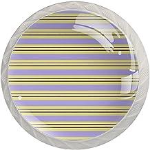 Ladeknoppen Ronde Kristal Glazen Kabinet Handgrepen Pull 4 Pcs,Streep Paars Geel