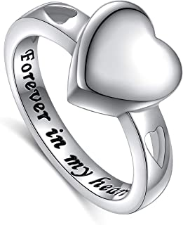 Sterling Silver Forever In My Heart Cremation Urn Ring Hold Loved Ones Ashes for Women Finger Ring Memorial Jewelry