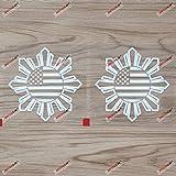 2X White 4'' Philippines American USA Flag Sun Star Filipino Decal Sticker Car Vinyl no bkgrd