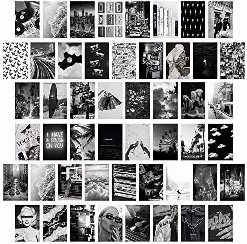 CY2SIDE 50PCS Black White Aesthetic Picture for Wall Collage 50 Set 4x6 inch Chic Collage Print product image