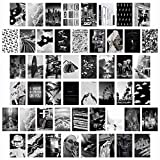CY2SIDE 50PCS Black White Aesthetic Picture for Wall Collage, 50 Set 4x6 inch, Chic Collage Print Kit, Room Decor for Girls, Vintage Wall Art Prints for Room, Dorm Photo Display, VSCO Posters for Bar