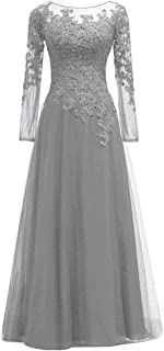 Women's Beaded Appliques Tulle Mother of The Bride Dress Long Sleeves Formal Evening Gown